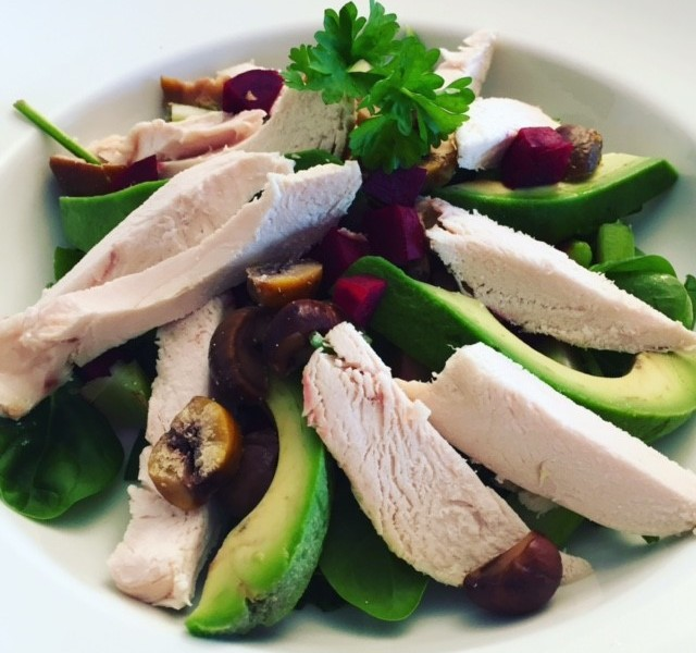 Turkey, avocado and chestnut salad